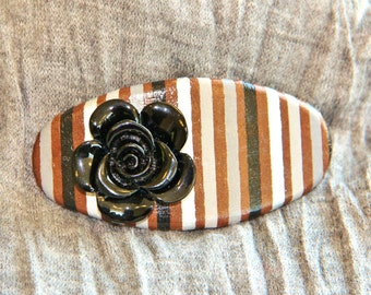 Black, Brown, and Silver Stripe Oval Barrette