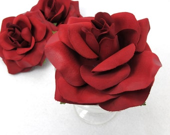 4 Inches Red Polyester Rose Shape Flower|Fake Flower|Flower Slip|DIY|Hair Bow Embellishment|Craft Supplies|Brooch|Pin|Hair Accessories
