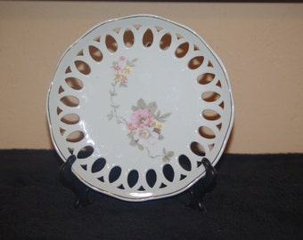 Flowered S A LEART Reticulated and Flowered Plate from 1960s