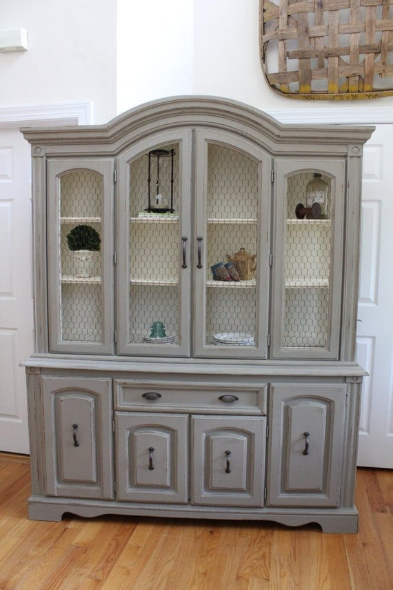 Using chalk paint to refinish kitchen cabinets - Vintage China Cabinet Hutch Amp Buffet With Chicken Wire