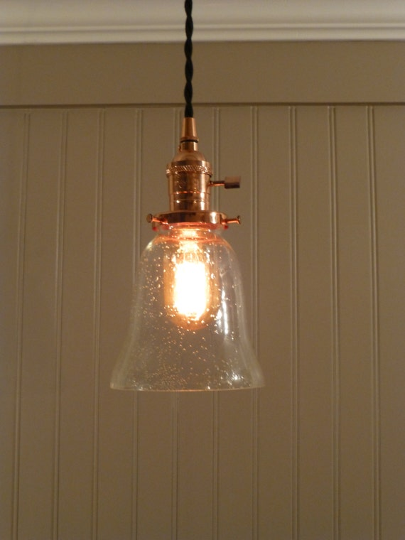 copper pendant light with seeded glass bell by vintagecopperworks. Black Bedroom Furniture Sets. Home Design Ideas