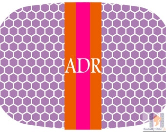 Modern purple honey comb platter with orange and pink accent stripe. The perfect gift- entertain with style! Dishwasher safe! Custom gifts!!