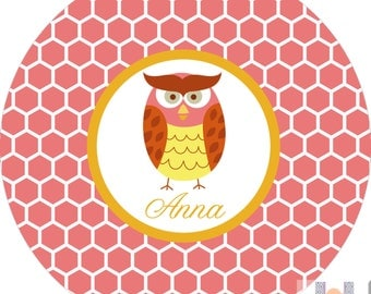 Personalized pink and yellow mod owl dinner plate.   A custom, fun and UNIQUE gift idea! Kids love eating on personalized plates!