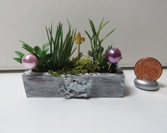 Shabby Chic herb garden in a decorated terracotta trough (1:12 scale)