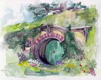 """LARGE Hobbit Hole Prints - Sizes 16x20 and up, """"Bag End"""", Lord of the Rings, The Hobbit, The Shire, Hobbiton"""
