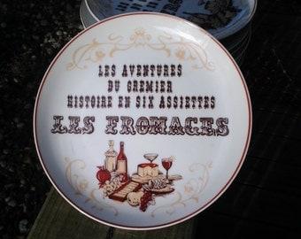 """Wine & Cheese plates """"Les Adventures du Cremier Histoire en six assiettes, Les Fromages"""", Appetizer Plates, Cheese Dessert Plates, set of 8"""