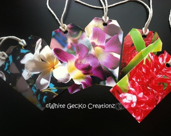Gift Tag, Tropical Flowers, Made from Fine Art Photography, set of 6