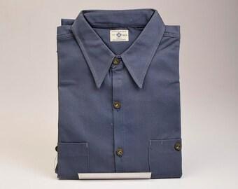 RARE NOS Deadstock Mens Vintage 40s Blue Rock Navy Sanforized Work Shirt Workwear 16.5