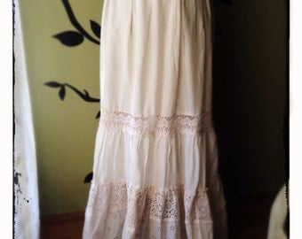 Vintage Cream Lace Maxi Skirt