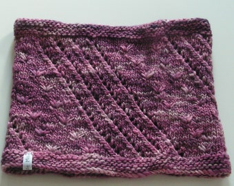 pink and purple cowl, hand knitted