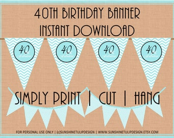 40th Birthday Printable Pendant Banner Aqua Blue and Black and White by SUNSHINETULIPDESIGN