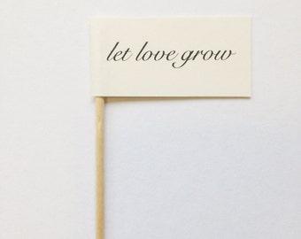 LET LOVE GROW Flag Favor Party Pick