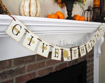 Give Thanks Banner • Thanksgiving Banner  • Fall Banner • Fall Decoration • Fall Decor • Thanksgiving Garland • Home Decor • Thanksgiving