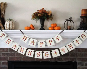 Thanksgiving Decor • Happy Thankgiving Banner • Thanksgiving Banner • Fall Decor • Fall Decorations • Fall Banner • Fall Signs