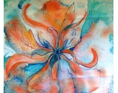 Orange abstract flower drawing in colored ink and acrylic on raw canvas