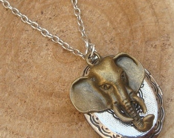 Silver Elephant Locket Necklace Victorian Jewelry Gift Vintage Style