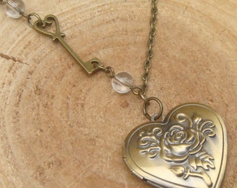 Antique Brass Key Crystal Locket Necklace Victorian Jewelry Gift Vintage Style