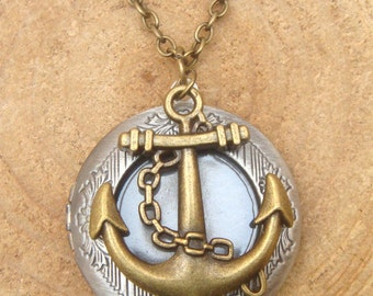 Anchor Silver Locket Necklace Victorian Jewelry Gift Vintage Style