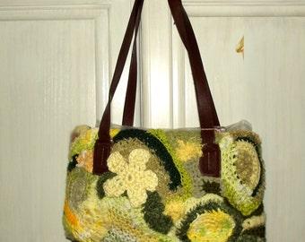 SALE, Freeform Crochet Purse, Sunlit Meadow, Upcycled, Green Yellow,  Eco Friendly, Hippie, Boho
