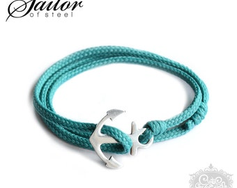 SAILOR of steel - aqua wrap bracelet anchor stainless steel
