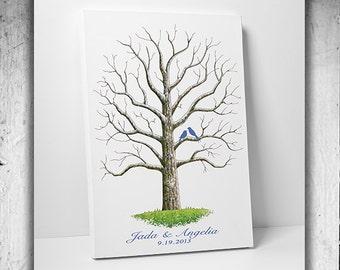 Wedding Tree Guest Book Custom Wedding Gift Unique Guest Book Alternative Print Poster Personalized Wedding Guestbook Thumbprint Wedding Art