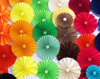 40pc rainbow colors   Paper Pinwheel Rosette Party Decoration Set wedding , birthday party ,backdrop background