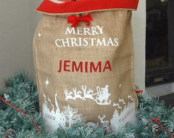 Personalised Hessian Merry Christmas Sack in White