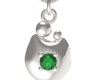 "Birthstone May Emerald Sterling Silver MOM&CHILD pendant with an 18"" Sterling Silver Necklace"