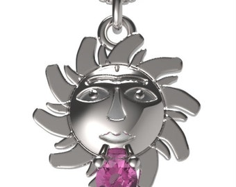 "925 Sterling Silver Sun Pendant &18"" Necklace Birthstone October Pink Tourmaline"