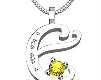 "BirthStone Letter E November Topaz 925 Solid Sterling Silver Pendant &18"" Necklace"