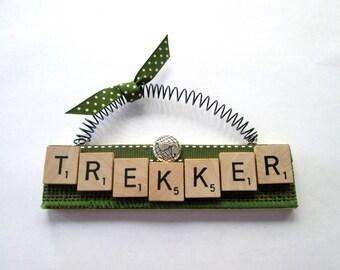 Trekker World Traveler Hiker Scrabble Tile Ornament