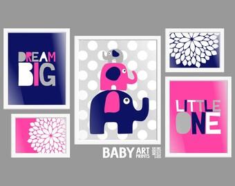 Baby Girl Navy, Hot Pink, Grey, Nursery art prints, Set of 5, Dream Big Little One, Elephant ( PHOMIX002 )