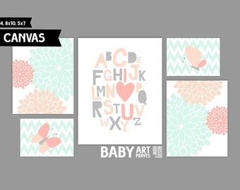Mint, Peach and Coral Baby Girl Nursery canvas art prints, Set of 5, Alphabet, I love You, Abstracts, Butterfly ( MS110 )