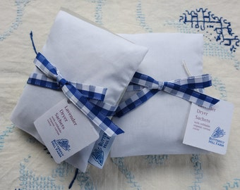 Reusable Lavender Dryer Sachets - Organic Cotton Cover with  3 Refills, Eco-Friendly Dryer Bags,  Laundry Housewarming Gift