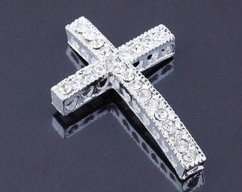 5Pcs 24x36mm Silver Tone Curved Sideways Cross Bracelet Connector Clear Crystal Rhinestone Loose Beads