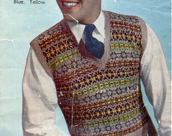 Man's Fair Isle Sleevelesss Pullover, Reformatted Vintage Knitting  A4 PDF, Bestway A2062,