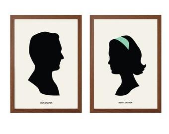 MAD MEN | Megan + Don Draper Poster : Illustration TV Show / Series Retro Art Wall Decor