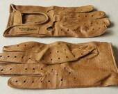 Renault Brown skin leather gloves drive driving car sport women men vintage original size 6/9