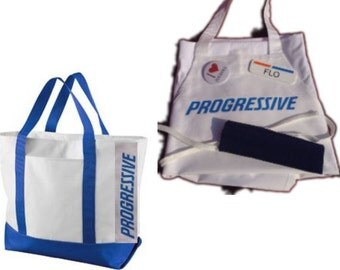 Combo: Adult Flo Progressive Insurance Apron, Canvas Bag, Name Badge + Pins ATTACHED or SEPARATE! Won't prick or fall off.  A fun FLO apron!