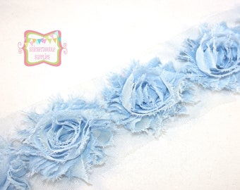 "2.5"" Light Blue Shabby Rose Trim #T013"
