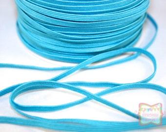 """1/8"""" Skinny Turquoise Blue Elastic 5 Yards"""