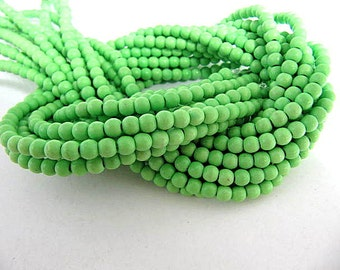 Turquoise Bead Strand, Synthetic, Lime Green, Dyed, Round, 6mm, 67 Piece Strand, Sale, Jewelry Supply
