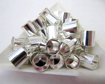 End Caps, Silver plate, 6 Piece, Value, 8MM, Kumihimo Cord End Caps, Barrel Cord End Caps. Kumihimo, Japanease Braiding, Jewelry Findings,