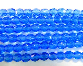 Faceted 6mm Round Beads Fire Polished Glass Beads, Blue, Czech Glass, 25 beads, Choose One or Two Strands, Sapphire