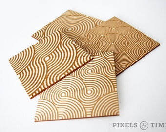 Ribbon Coasters | Wood Cut Coasters |  Laser Cut