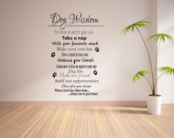 Wall Decals Dog Quotes : Dog Wisdom Wall Sticker Quote Vinyl Decal 55x100
