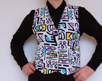Vintage 90s arty grafitti graphic vest/top Cotton lined with cotton White back Small