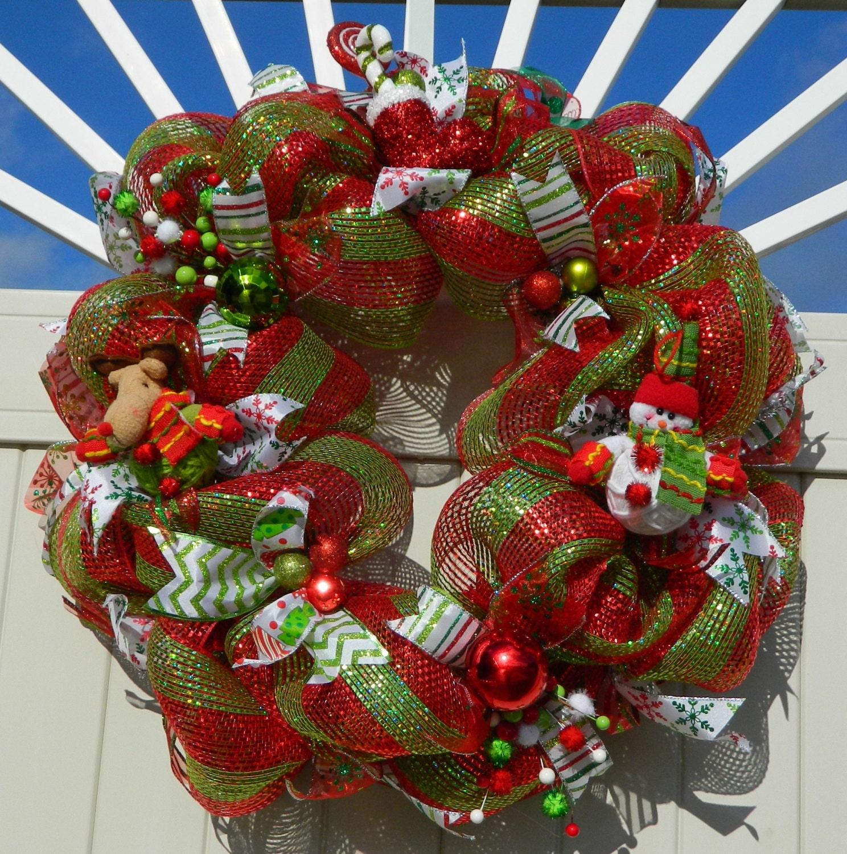 Deco Mesh Christmas Tree Wreath: CLEARANCE Christmas Wreath Deco Mesh Red Green Rudolph