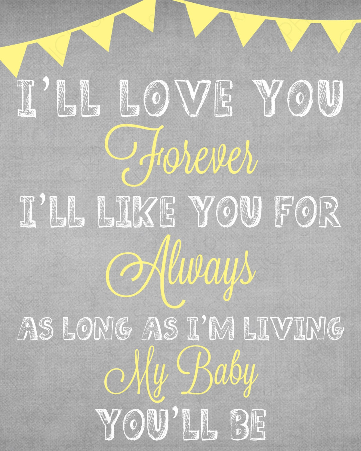 I Ll Love You Forever Quote: I'll Love You Forever Quote Print Art Burlap By
