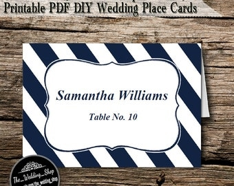 Instant Download- Printable PDF DIY White & Navy Nautical Stripe Beach Wedding Tent Style Template 4 Place Cards Per Sheet